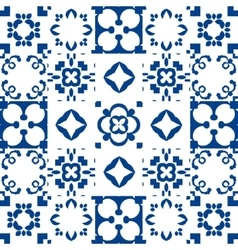 Blue and white ceramic tiles patchwork style vector