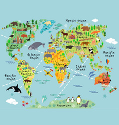 Cartoon world map vector image