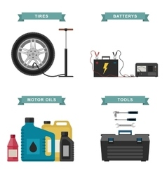 Auto parts flat icons vector