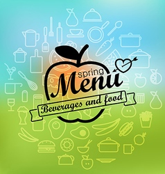 Spring menu label design lineart concept vector