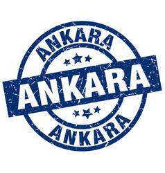 Ankara blue round grunge stamp vector