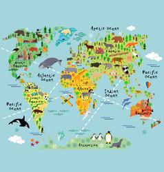 Cartoon world map vector image