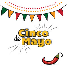 cinco de mayo logo hand drawn lettering and chili vector image vector image