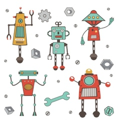 Cute colorful robots collection vector image vector image