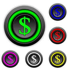 Dollar buttons set vector image vector image