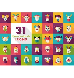 Farm animals flat icons set head vector image