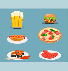 Food icons beer cheeseburger hot dog pizza sushi vector