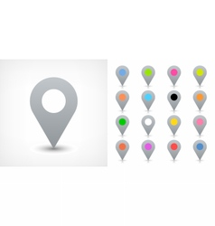 Gray map pin sign location icon in flat style vector