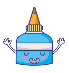 Kawaii cute funny glue bottle vector