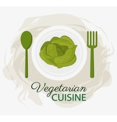 Lettuce vegetarian cuisine organic food plate and vector
