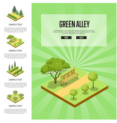 Natural parkland landscape with green alley vector