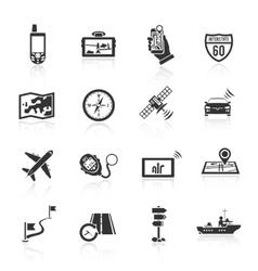 Navigation icons set black vector