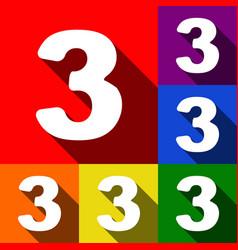 Number 3 sign design template element set vector