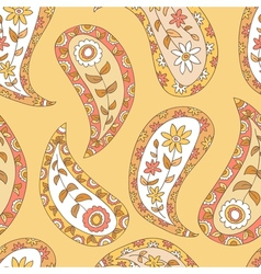 Orange paisley seamless pattern vector image