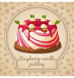 Raspberry vanilla pudding label vector