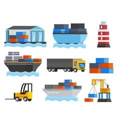 Sea Port Orthogonal Icons Set vector image