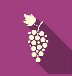 Simple grape icon with long shadow vector