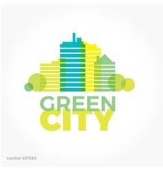 Sound equalizer symbol logo Green ecological city vector image vector image