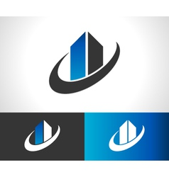 Swoosh Modern Building Icon vector image