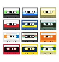 Vintage cassette tape collection vector image