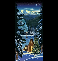 Winter forest landscape with a hut and Christmas vector image