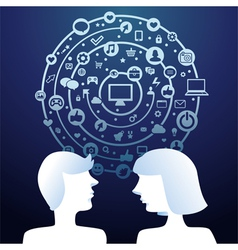 Social media concept with man and woman profiles - vector image