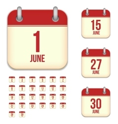 June tear-off calendar isolated icons set vector