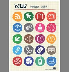 Doodle internet web icons set vector