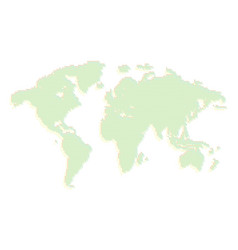 isolated green color worldmap of dots on white vector image