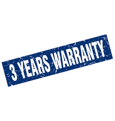 Square grunge blue 3 years warranty stamp vector