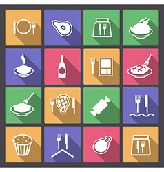 Food icons in flat design vector