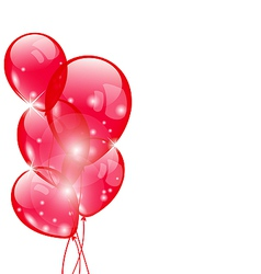 Flying red balloons isolated on white background vector