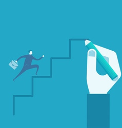 Businessman run on drawing stairs vector