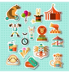 Circus stickers set vector