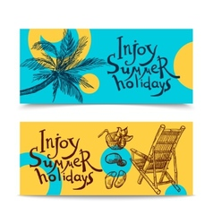 Summer beach banners vector
