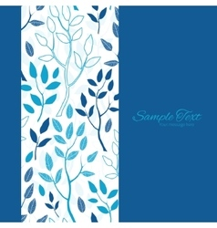 Blue forest vertical frame seamless pattern vector