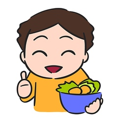 Cute little boy eats vegetable isolate stock vector