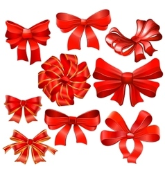 Set of red gift bow with ribbons vector