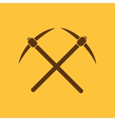 The pick icon pickax symbol flat vector