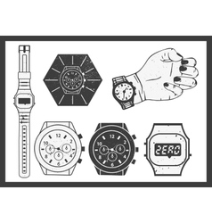 Hand watches set electronic and classic vector
