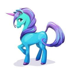 Cute cartoon blue unicorn with purple hair vector