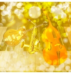 Jazz instruments on shiny background vector