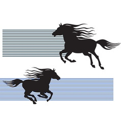Silhouette of galloping horses vector