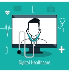 Digital healthcare isolated icon design vector