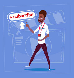 African american man subscribe modern video vector