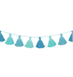 Baby boy blue hanging decorative tassels vector