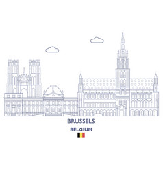 brussels linear city skyline vector image