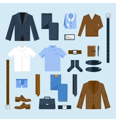 Businessman clothes icons set vector image