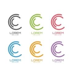 c logo template set Abstract circle shape vector image