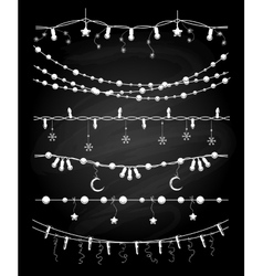 Christmas garlands or chalkboard vector image